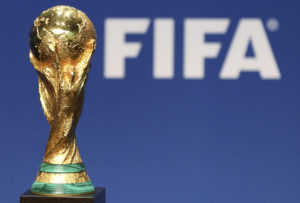 A replica of the FIFA Soccer World Cup Trophy is pictured at the FIFA headquarters in Zurich January 23, 2014. REUTERS/Thomas Hodel (SWITZERLAND - Tags: SPORT SOCCER WORLD CUP) - RTX17RNS